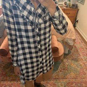 Gingham Button down Shirt Dress with ruffles